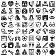 Health flat icons. Black — Vector de stock
