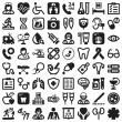Health flat icons. Black — Stok Vektör