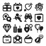 Valentines Day flat icons. Black — ストックベクタ