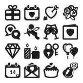 Valentines Day flat icons. Black — Vector de stock