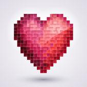Pixel Heart. Love — Stock Vector