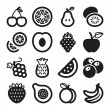 Fruit flat icons. Black — Stock Vector