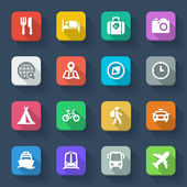 Travel flat icons. Colorful — Stock Vector