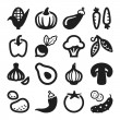 Stock Vector: Vegetables flat icons. Black