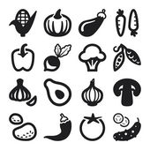 Vegetables flat icons. Black — Stock Vector