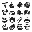 Stock Vector: Meat flat icons. Black