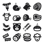 Meat flat icons. Black — Stock Vector