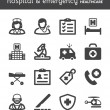 Stock Vector: Hospital and emergency. Healthcare flat icons. Black
