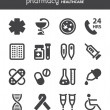 Stock Vector: Pharmacy. Healthcare flat icons. Black