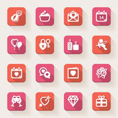 Valentines Day flat icons. Colorful — Vecteur
