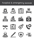 Hospital and emergency. Healthcare flat icons. Black — Stock Vector
