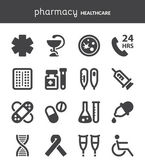 Pharmacy. Healthcare flat icons. Black — Stock Vector