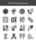 Pharmacy. Healthcare flat icons. Black — Stock Vector