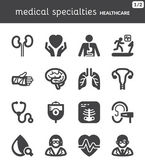 Medical specialties. Healthcare flat icons. Black — Stock Vector