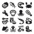 Seafood flat icons. Black — Vector de stock