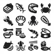 Seafood flat icons. Black — ストックベクタ