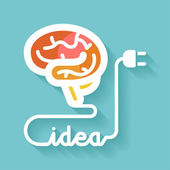 Brain and idea — Stock Vector