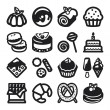 Stock Vector: Desserts flat icons. Black