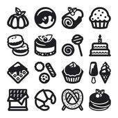 Desserts flat icons. Black — Stock Vector