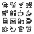 Stock Vector: Beverage flat icons. Black