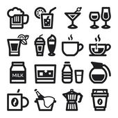 Beverage flat icons. Black — Stock Vector