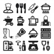Stock Vector: Cooking flat icons. Black