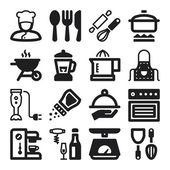 Cooking flat icons. Black — Stock Vector