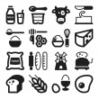 Stock Vector: Dairy Egg Bread Sugar flat icons. Black
