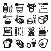 Dairy Egg Bread Sugar flat icons. Black — Stock Vector