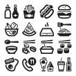 Stock Vector: Fast food and junk food flat icons. Black