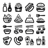 Fast food and junk food flat icons. Black — Stock Vector
