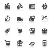 Shopping flat icons with reflection — Stock Vector