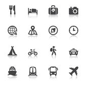 Travel flat icons with reflection — Stock Vector