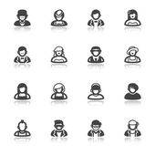 People flat icons with reflection. Classic and modern style — Stock Vector