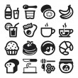 Beakfast flat icons. Black — Stock Vector #42482449