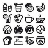 Beakfast flat icons. Black — Stock Vector