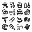 Barbecue flat icons. Black — Stock Vector #42842437