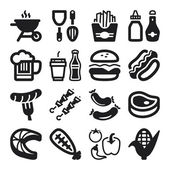 Barbecue flat icons. Black — Stock Vector
