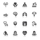 Medical specialties. Healthcare flat icons with reflection — Stock Vector