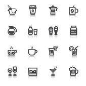 Beverage flat icons with reflection — Stock Vector