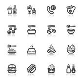 Fast food and junk food flat icons with reflection — Stock Vector