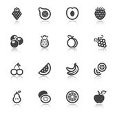 Fruit flat icons with reflection — Stock Vector