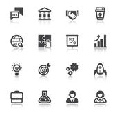 Business flat icons with reflection — Vector de stock