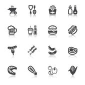 Barbecue flat icons with reflection — Vector de stock