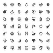 Vegan food flat icons with reflection — Vecteur