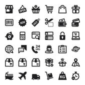 Shopping online flat icons. Black — Stock Vector