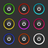 Colored power buttons — Stock Vector