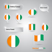 Ivory Coast icon set of flags — Stock Vector