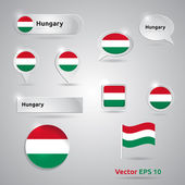 Hungary icon set of flags — Stock Vector
