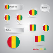Guinea icon set of flags — Stock Vector